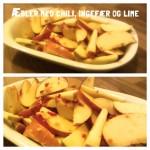 æbler med ingefær, chili og lime